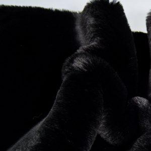 Fausse fourrure au mètre Tissu fausse fourrure super doux noir – 3105 Black/Black