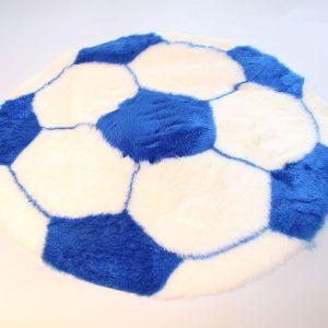 Produits finis Tapis en fourrure super douce motif football bleu/blanc diamètre 70 cm