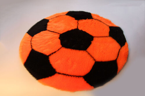 Produits finis Tapis en fourrure super douce motif football orange/noir diamètre 70 cm