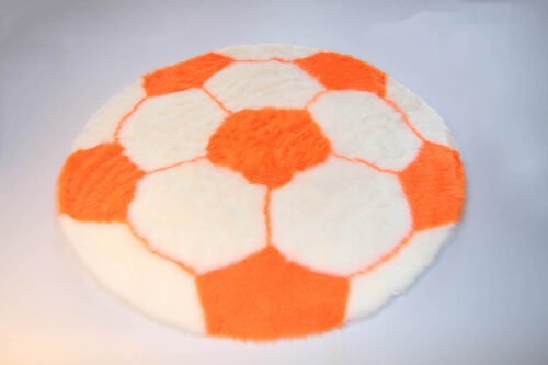 Produits finis Tapis en fourrure super douce motif football blanc/orange diamètre 70 cm