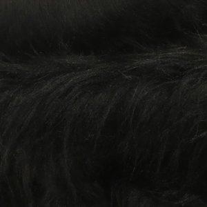 Fausse fourrure au mètre Fausse fourrure noire à poil long – AC356-Black