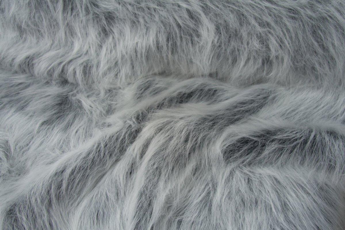 Fausse fourrure au mètre Fausse fourrure noir givré à poil long – AC356-Black Frost