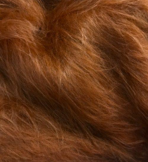 Fausse fourrure au mètre Fausse fourrure brun châtaigne à poil long – AC356-Chestnut