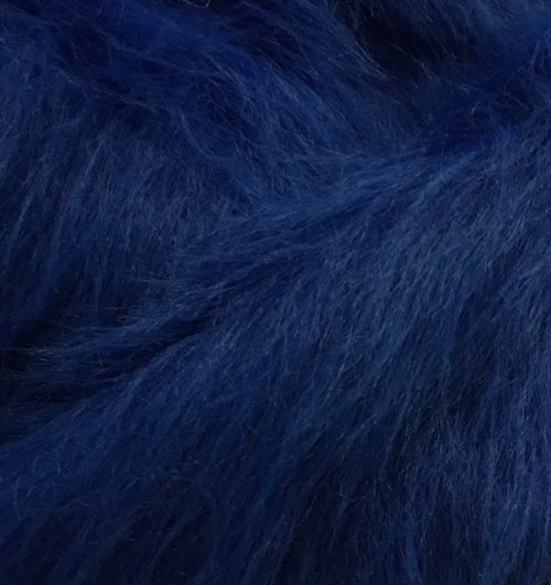 Fausse fourrure au mètre Fausse fourrure bleu cobalt à poil long – AC356-Cobalt