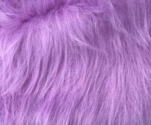 Fausse fourrure au mètre Fausse fourrure violette à poil long – AC356-Heliotrope