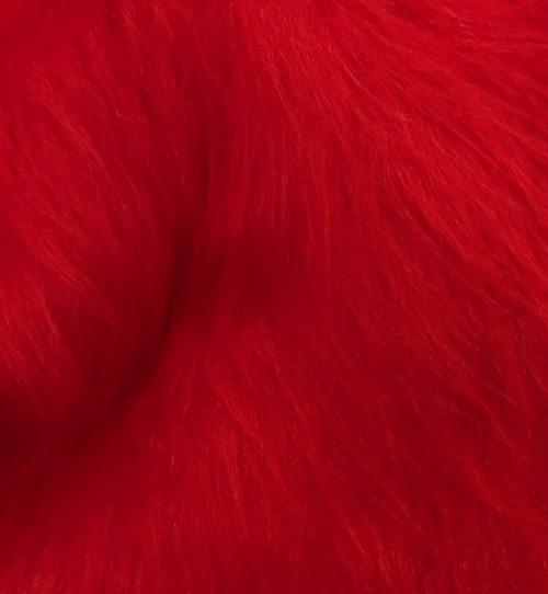 Fausse fourrure au mètre Fausse fourrure rouge à poil long – AC356-R-Red