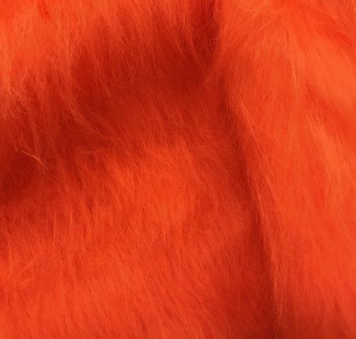 Fausse fourrure au mètre Fausse fourrure orange mandarine à poil long – AC356-Tangerine