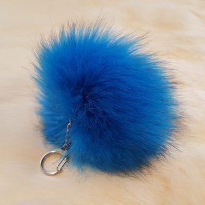 Produits finis Porte-clés pompon bleu en fausse fourrure premium super douce