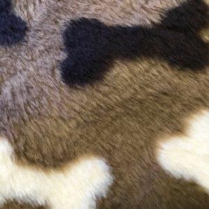 Fausse fourrure au mètre Fausse fourrure brune motif os – R2/60/3 /8mm / LP YF 1150/3 Bones