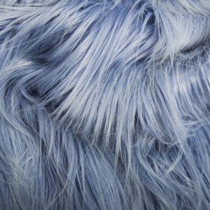Fausse fourrure de luxe Tissu fausse fourrure bleu bleuet à poil long façon yéti – 1568 Cornflower/white