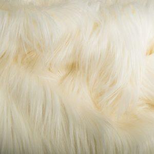 Fausse fourrure au mètre Tissu fausse fourrure crème à poil long façon yéti – 1568 Cream
