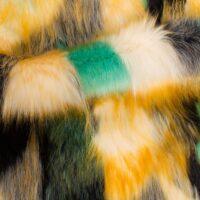 Fausse fourrure au mètre Tissu fausse fourrure super doux renard multicolore – 1558 Green / Yellow