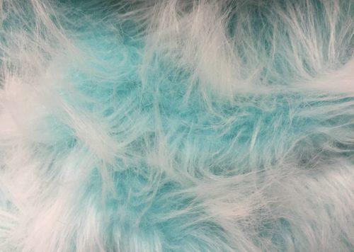 Fausse fourrure au mètre Fausse fourrure bleu paon givré à poil long – AC356-Peacock Frost