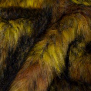 Fausse fourrure au mètre Tissu fausse fourrure multicolore brun et or – 1597 Brown-Gold