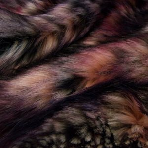 Fausse fourrure au mètre Tissu fausse fourrure multicolore nuances de rouge – 1597 Harvest Wine