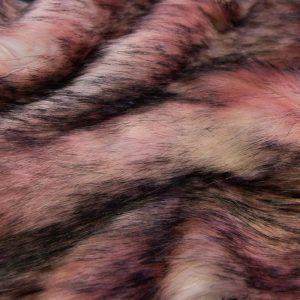 Fausse fourrure au mètre Tissu fausse fourrure multicolore rose et gris – 1597 Pink-Grey