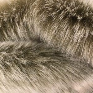 Fausse fourrure de luxe Tissu fausse fourrure super doux beige et blanc – 1557 Lt.Brown/White