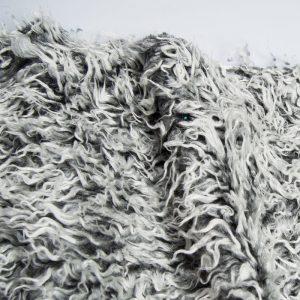 Fausse fourrure au mètre Tissu fausse fourrure bouclé pas cher, couleur gris givré – AC530 dk grey frost