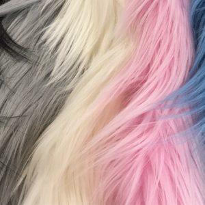 Fausse fourrure de luxe Tissu fausse fourrure rose et blanc à poil long façon yéti – 1568 Lt. Pink/White