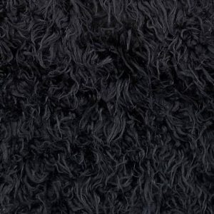 Fausse fourrure au mètre Tissu fausse fourrure bouclé pas cher, couleur noire – AC444 1025