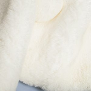 Fausse fourrure de luxe Fausse fourrure blanc cassé super douce façon lapin – Saluki 2R333 R white