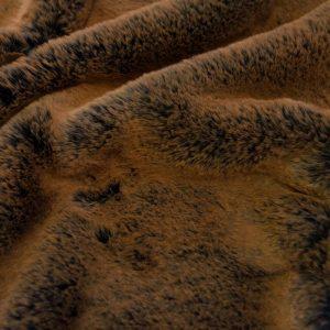 Fausse fourrure de luxe Tissu fausse fourrure super doux imitation lapin, bleu marine/brun – 3091 Navy Brown