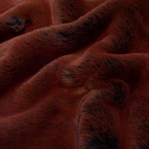 Fausse fourrure de luxe Tissu fausse fourrure super doux imitation lapin, bleu marine/rouille – 3091 Navy Rust