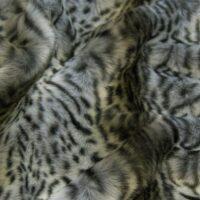Fausse fourrure au mètre Tissu fausse fourrure au mètre imitation jaguar, gris et noir – 1602 Grey/Black