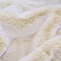 Fausse fourrure au mètre Tissu fausse fourrure super doux façon lapin, sable/blanc – 1633 Sand/White