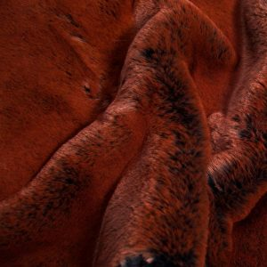 Fausse fourrure au mètre Tissu fausse fourrure super doux imitation lapin, bleu marine/rouille – 3091 Navy Rust