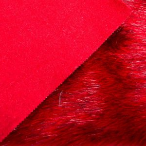Fausse fourrure de luxe Fausse fourrure imitation renard rouge – 7552 Scarlet/Black