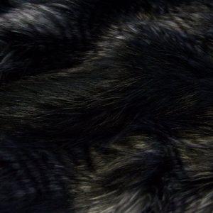 Fausse fourrure de luxe Tissu fausse fourrure noir-gris imitation raton-laveur – 7584 Black/Silver