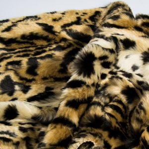 Fausse fourrure au mètre Tissu fausse fourrure imitation jaguar beige/noir – 1554 Beige/Black