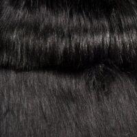 Fausse fourrure au mètre Tissu fausse fourrure noir à poil long super dense imitation renard – 1598 Black