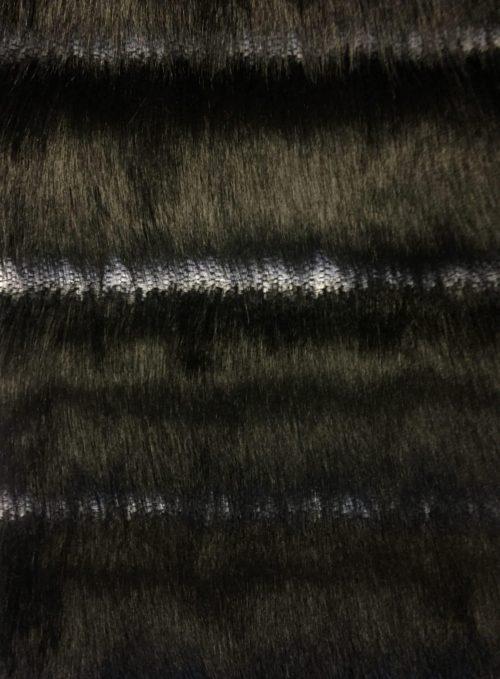 Fausse fourrure au mètre Tissu fausse fourrurenoire à poils longs, avec bandes verticales – 7557 Black/White