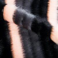 Fausse fourrure au mètre Tissu fausse fourrure rayé imitation vison – 1625 Black/Grey Pink