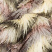 Fausse fourrure au mètre Tissu fausse fourrure yeti rose et crème à chevrons – 8102 Pink/Cream