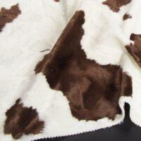 Fausse fourrure au mètre Tissu fausse fourrure au mètre imitation vache – 1651 White/Brown