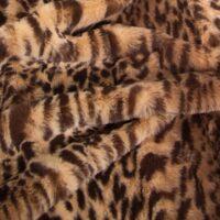 Fausse fourrure au mètre Tissu fausse fourrure au mètre imitation léopard brun – 2RK362 Beige/Brown