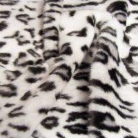 Fausse fourrure au mètre Tissu fausse fourrure au mètre imitation léopard blanc et noir – 1577 White/Black