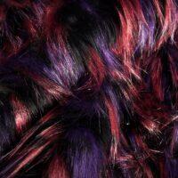 Fausse fourrure au mètre Tissu fausse fourrure méché yeti violet/rouge/noir – 7555 Purple/Wine